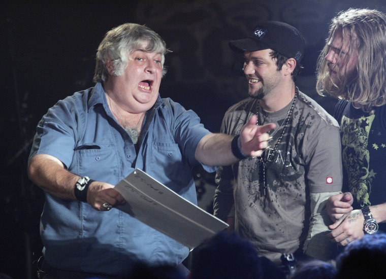 "Image: Vincent Margera, Bam Margera and Ryan Dunn appear onstage during a taping of MTV2's ""All That Rocks"""