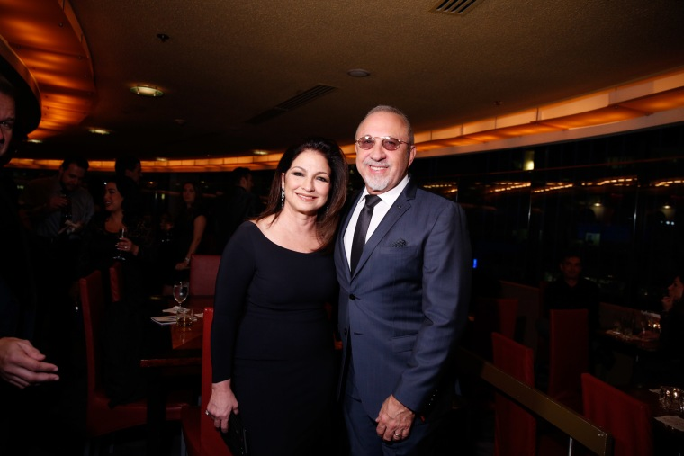 Gloria and Emilio Estefan attend 'On Your Feet' Broadway musical fan meet and greet at The New York Marriott Marquis on November 2, 2015 in New York City.