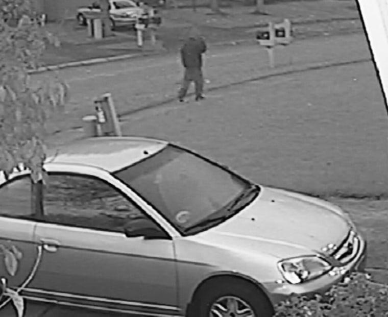 A still image from a surveillance camera shows the man suspected of killing Amanda Blackburn.