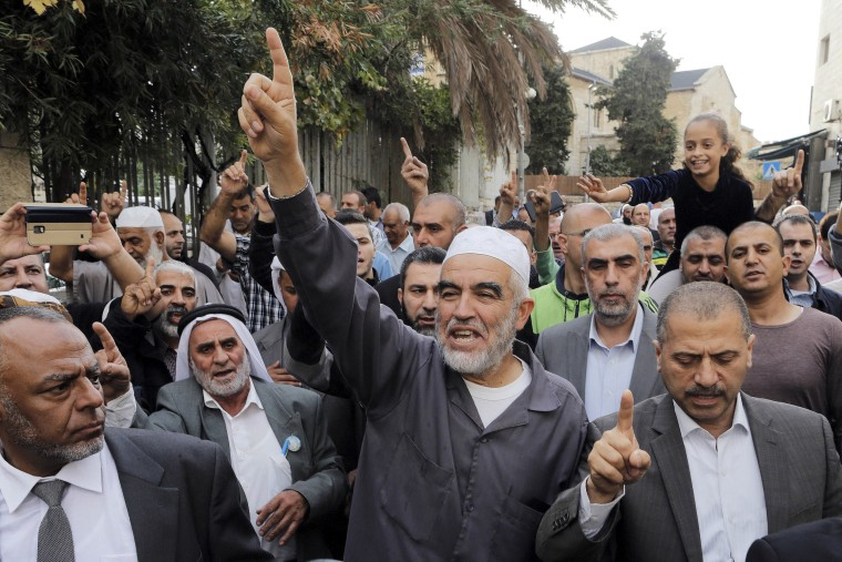Image: File photo of Sheik Raed Salah gesturing after leaving Jerusalem district court
