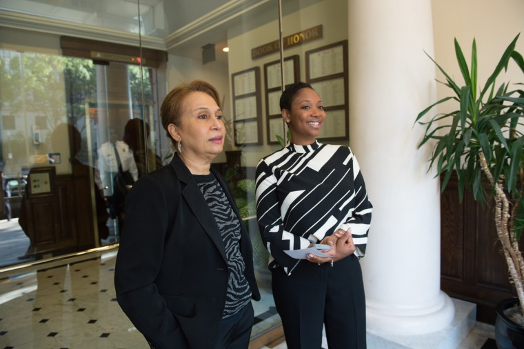 LaDavia Drane, (right) Hillary Clinton's Director of African American outreach, stands with Alexis Herman (left), former Secretary of Labor under President Bill Clinton.