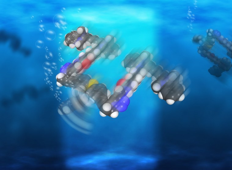 "Illustration showing the general shape of the nanosubmarine; the ""propeller"" is at the lower left, moving the craft in that direction; the ""pontoons"" are in the back."