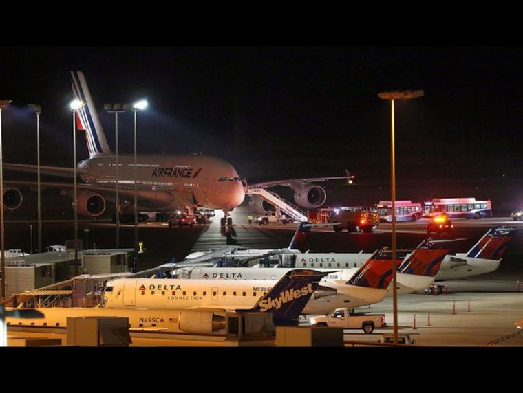 An Air France Airbus A-380 was diverted to the Salt Lake City International airport after receiving a bomb threat Tuesday evening, airport officials said.