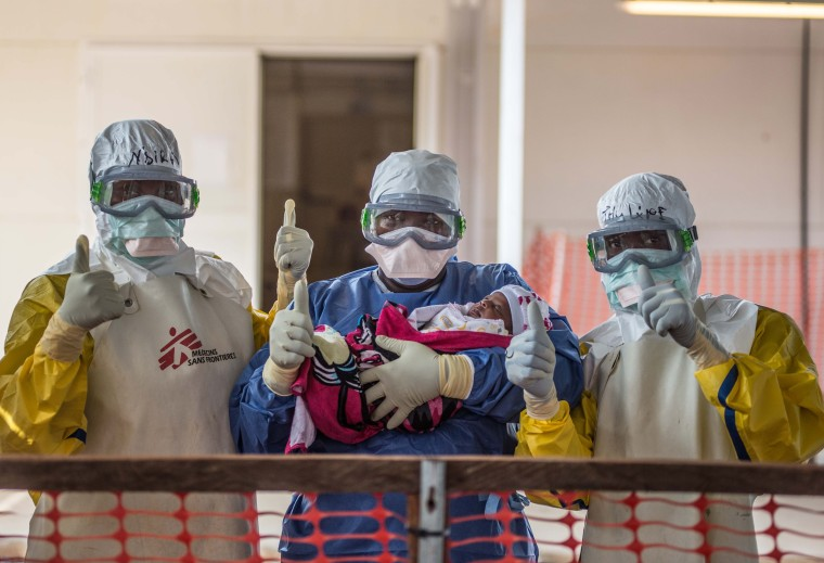 Nubia, a baby who survived Ebola at the Medecins Sans Frontiers (MSF) Ebola Clinic in Conakry, Guinea.