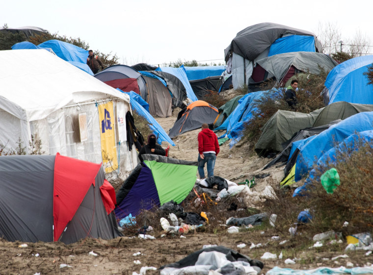 """Image: """"The Jungle"""" camp in Calais, France"""