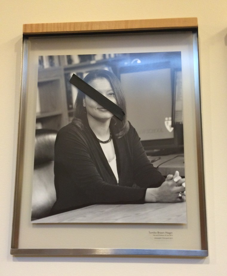 A portrait of Tamiko Brown-Nagin was among the portraits of black faculty members defaced with black tape at Harvard Law School.