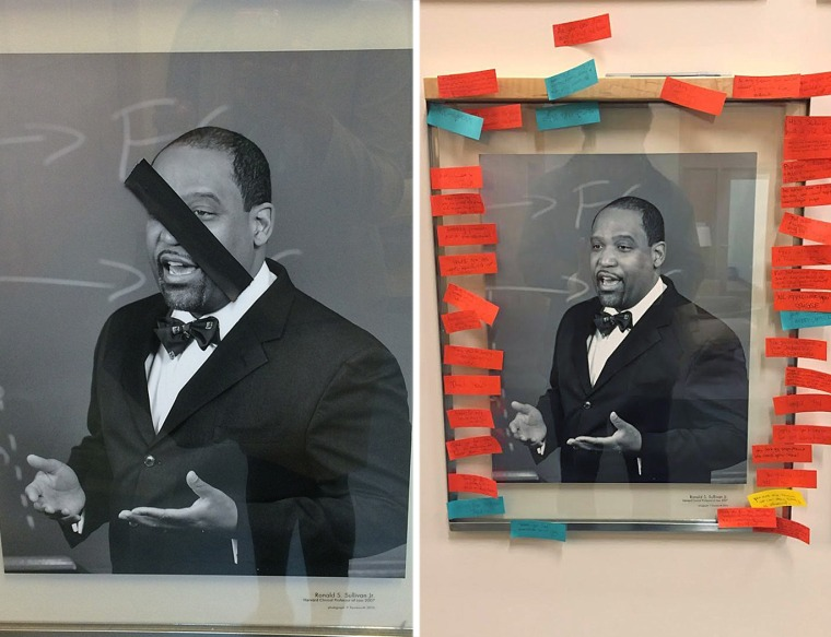 A portrait of Ronald S. Sullivan was among the portraits of black faculty members defaced with black tape at Harvard Law School. Students responded, at right, by posting notes showing their appreciation for the professors.