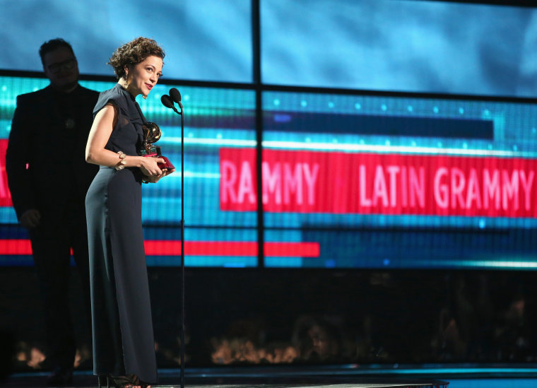 Recording artist Natalia Lafourcade accepts the Record of the Year award for 'Hasta la Raiz' onstage during the 16th Latin GRAMMY Awards at the MGM Grand Garden Arena on November 19, 2015 in Las Vegas, Nevada.