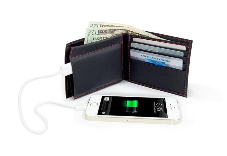 Sharper Image phone charging wallet.