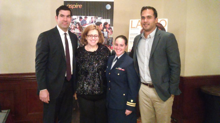 From left to right: Nelson Pérez, National Grid: Celeste Carrasco, AT&T; Lt. Bianca Barceló, U.S. Coast Guard; Jeb Bhuda, General Motors at the 6th annual Nuestro Futuro Latino Education Conference, Nov. 20, 2015.