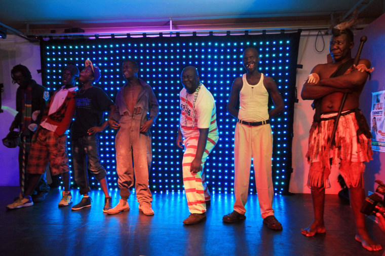 Image: Contestants stand on stage during the 2015 edition of Mr Ugly
