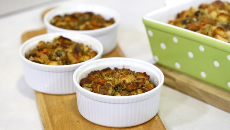 Katie Workman shares her recipe for bread stuffing with turkey sausage