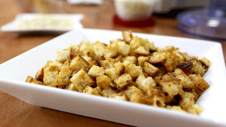 Katie Workman shares her recipe for garlic Parmesan croutons