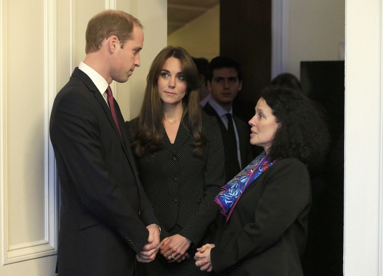 Britain's Prince William, left, and Kate, Duchess of Cambridge