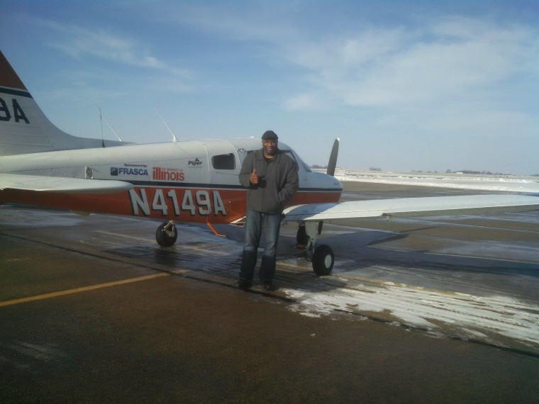 University of Illinois senior Jason Yue took his dorm chef, Eric, flying for the first time