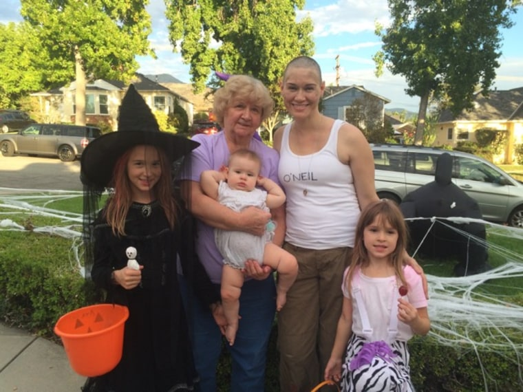 The Van Horn family poses for a Halloween photo. Mom Tonya Peat and 3 daughters Ava, Ashley and Annabelle and grandmother Carol Van Horn.