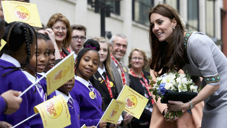 Kate, Duchess of Cambridge meets children outside the Place2Be Headteacher Conference