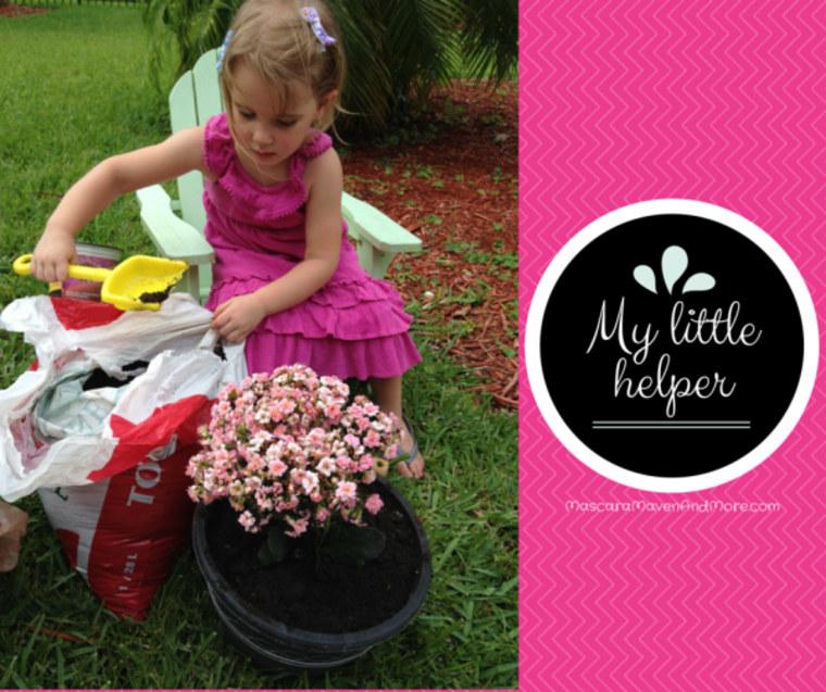 """My Little Helper"" art showing young girl gardening"