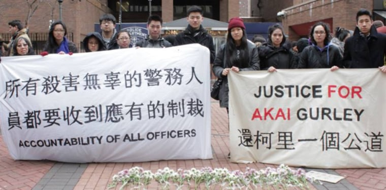 Asian-American groups march in support of Akai Gurley, an unarmed 28-year-old father who was shot and killed by NYPD Officer Peter Liang in November, 2014.