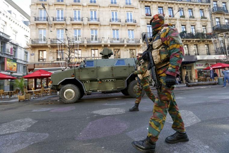 Image: Belgian soldiers patrol in central Brussels