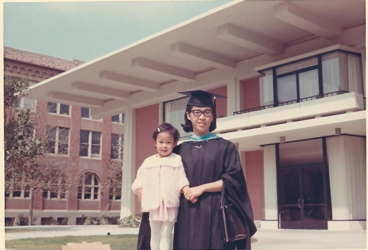 Frances Kai-Hwa Wang with her mother at graduation from USC School of Education in California