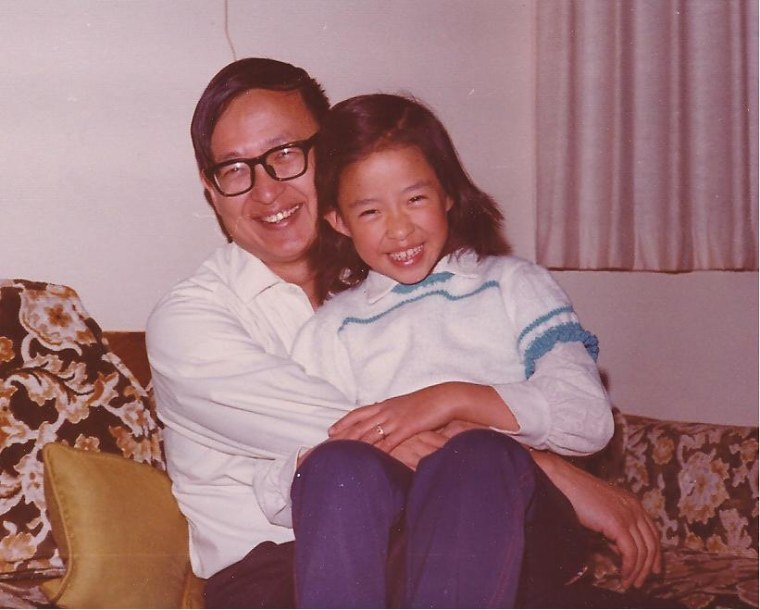 Frances Kai-Hwa Wang with her father on her eighth birthday in California