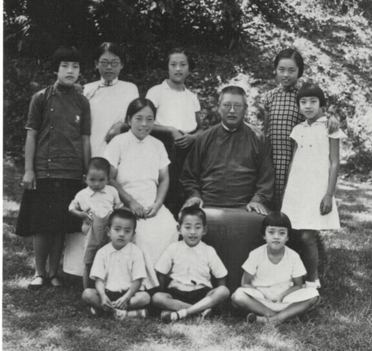Frances Kai-Hwa Wang's maternal great grandparents and their nine children in China, 1935. Wang's maternal grandmother, who happened to be born in Japan at the time of the Great Kanto Earthquake, is in the center of the back row.
