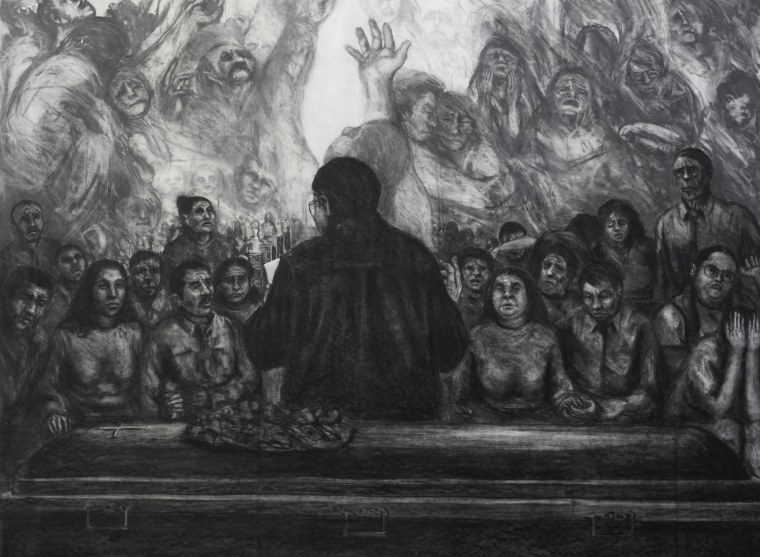 """The Last Eulogies of Poets, 89"""" x 66"""", Charcoal and acrylic on canvas, 2010 by Maceo Montoya."""