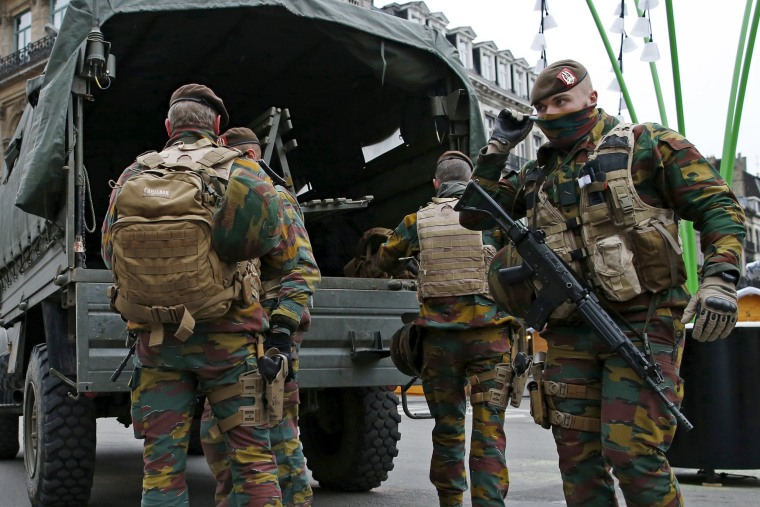 Image: Belgian soldiers patrol in central Brussels