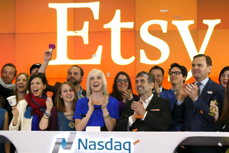 Image: File photo of Etsy Inc's IPO at the Nasdaq market site in New York