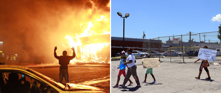"At left, a protester poses for a ""hands up"" photo on Nov. 24, 2014, in front of a burning building on West Florissant Avenue in Ferguson, Missouri. At right, young marchers cross the parking lot in July 2015 where the building once stood."
