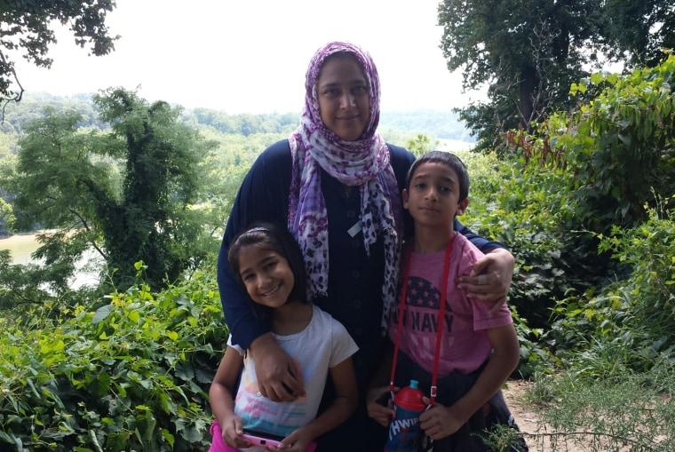 Author Saadia Faruqi and her two children.