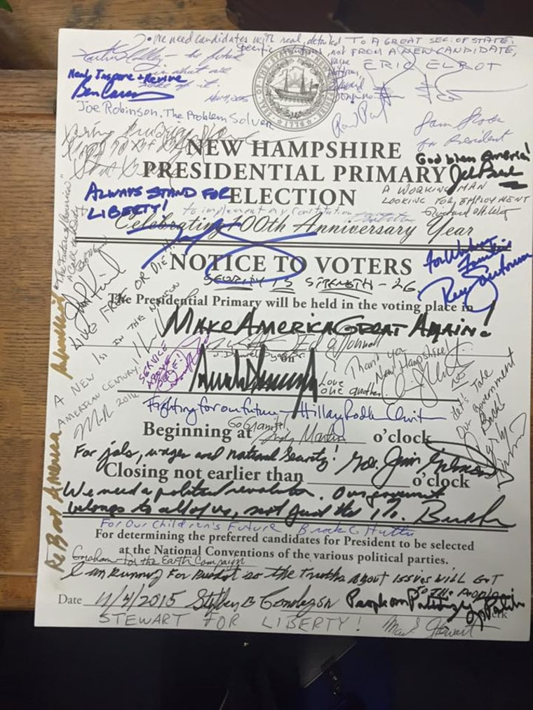 """Each candidate signs a """"Notice to Voters"""" sheet with a special slogan or a message about what was on their mind when they file for the New Hampshire primary."""