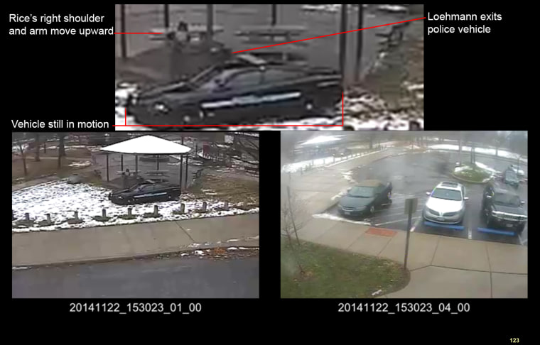 This combination of still images taken from a surveillance video and released Saturday, Nov. 28, 2015, by the Cuyahoga County Prosecutor's Office, shows Cleveland police officers arriving at Cudell Park on a report of a man with a gun. Twelve-year-old Tamir Rice was fatally shot by Cleveland police officer Timothy Loehmann, Nov. 22, 2014, after he reportedly pulled a replica gun at the city park.