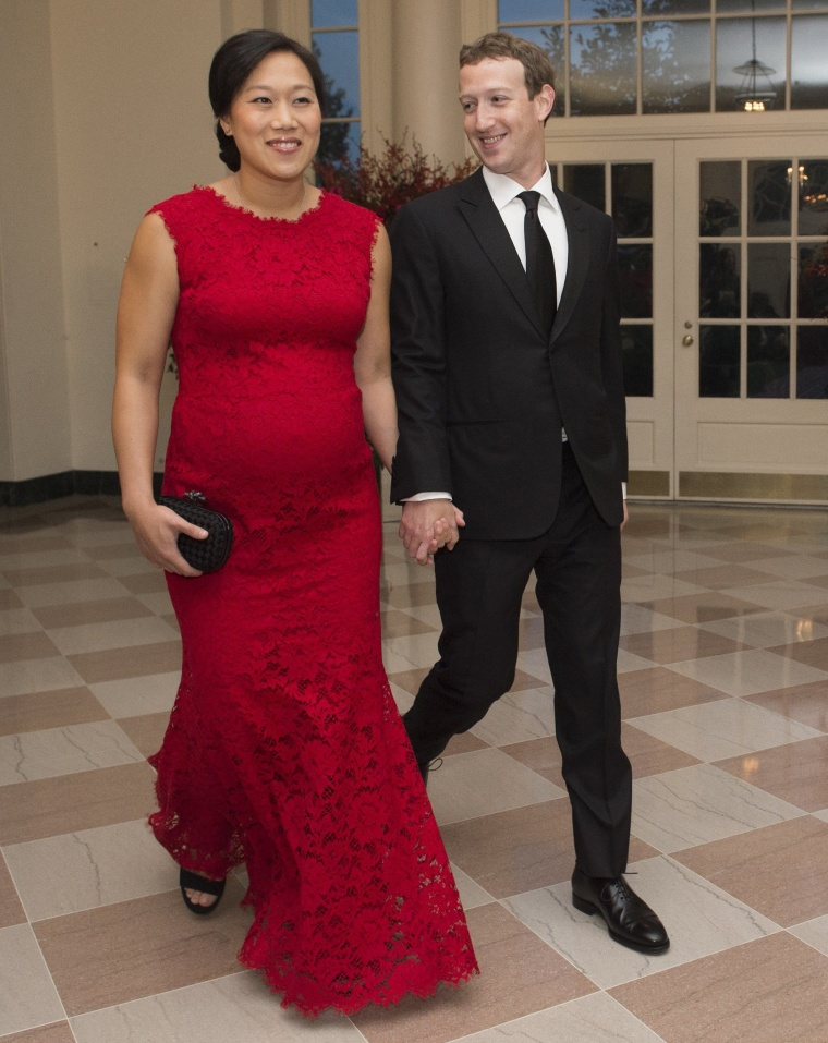 Facebook CEO Mark Zuckerberg and his wife Priscilla Chan at a White House dinner.