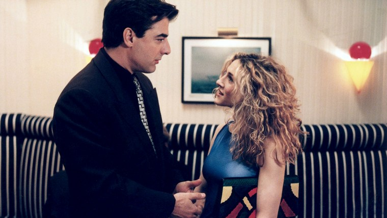 "Carrie (Sarah Jessica Parker) and Mr. Big (Chris Noth) on ""Sex and the City"""