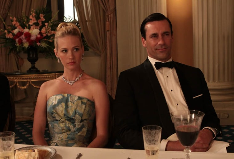 "Betty Draper (January Jones) and Don Draper (Jon Hamm) didn't always see eye-to-eye on AMC's ""Mad Men."""