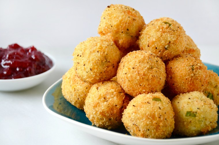 Cheesy Leftover Turkey and Mashed Potato Bites recipe