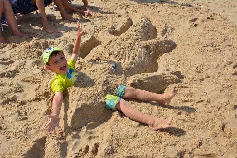 Michael Mosier, having a blast at the beach.