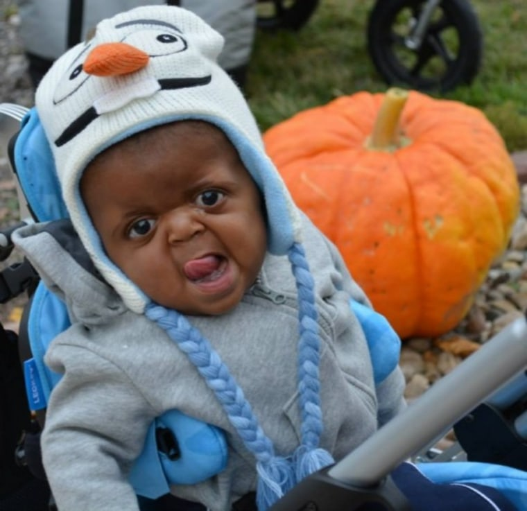Cute little boy at pumpkin patch