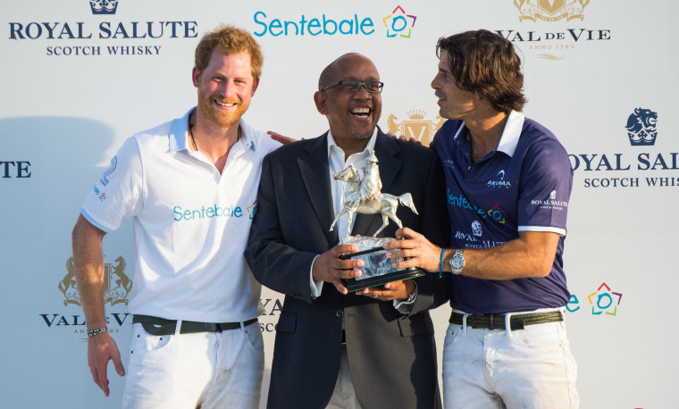 Prince Harry, Prince Seeiso of Lesotho and Nacho Figueras joke around following the Sentebale Royal Salute Polo Cup.