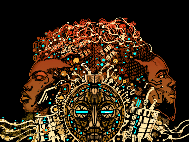 Front and back cover of 'Reynaldo' displaying Afrofuturism designs