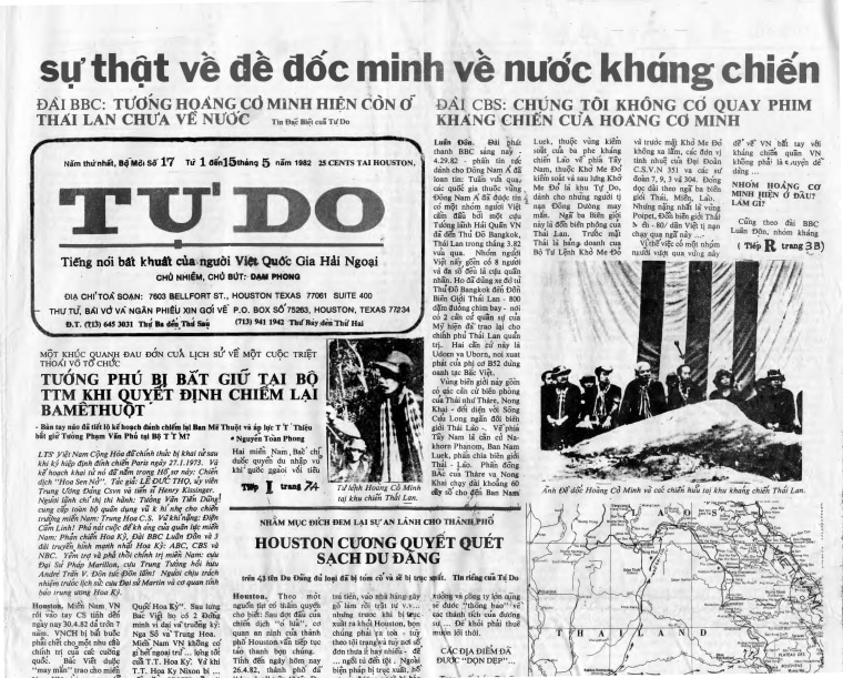 """This newspaper headline, translated by Tu Nguyen, reads """"The truth about the former vice admiral Hoang Co Minh, leader of Mat Tran (the Front aka Viet Tan) going back to the country [Vietnam] to fight."""""""