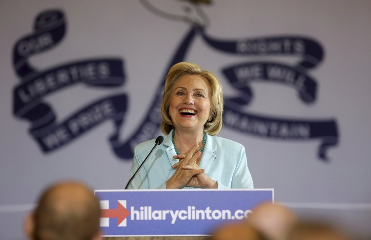 Image: File photo of United States Democratic presidential candidate Hillary Clinton speaking about college affordability during a town hall meeting in Dubuque
