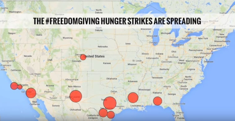 This map, courtesy of DRUM - South Asian Organizing Center, shows where hunger strikes are taking place in detention centers across the country. The majority of the strikes began over the Thanksgiving holiday.