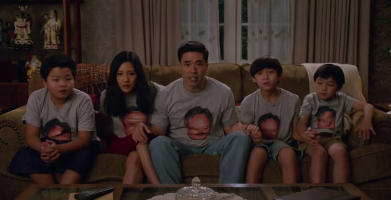 The Huang family (portrayed, from left to right, by Hudson Yang, Constance Wu, Randall Park, Forrest Wheeler, and Ian Chen).