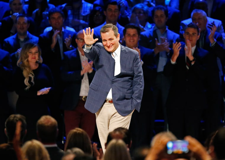 Cruz waves onstage during the North Texas Presidential Forum at Prestonwood Baptist Church in Plano, Texas on Oct. 18. Presidential candidates were invited to address the audience, followed by a discussion with Dr. Jack Graham, pastor of Prestonwood Baptist Church, a 40,000 member congregation.