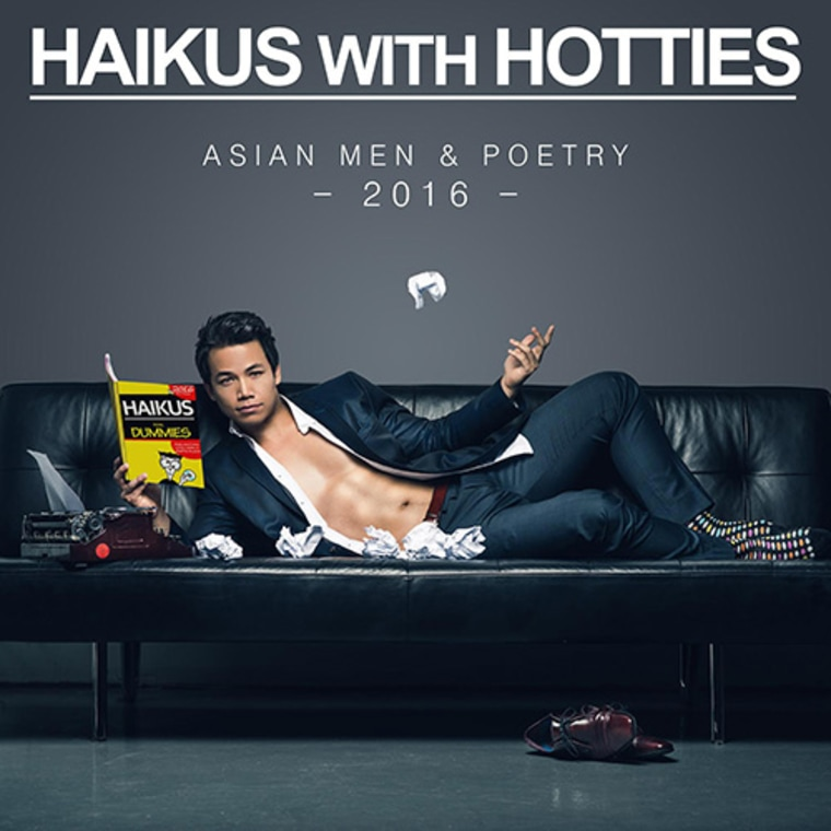 """Haikus with Hotties"" 2016 Calendar cover featuring Shannon Kook"
