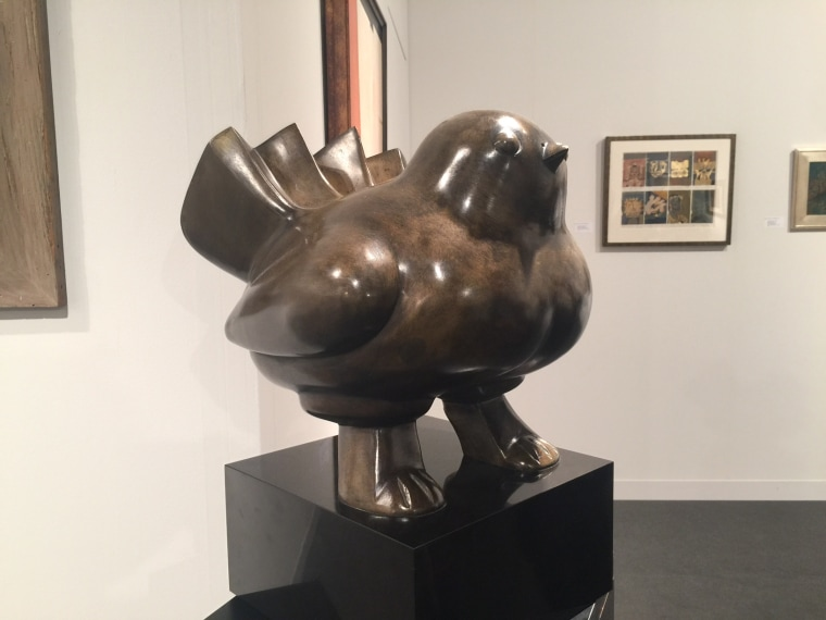 A sculpture by acclaimed Colombian artist Fernando Botero at Art Basel Miami Beach.