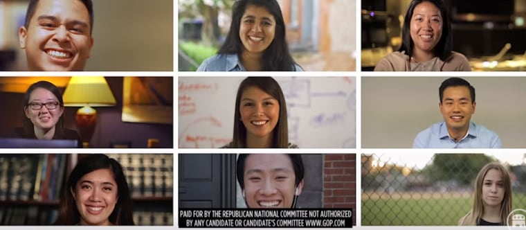 """This screenshot from the RNC's """"It's Our Time"""" video shows the party's effort to court young Asian-American voters."""